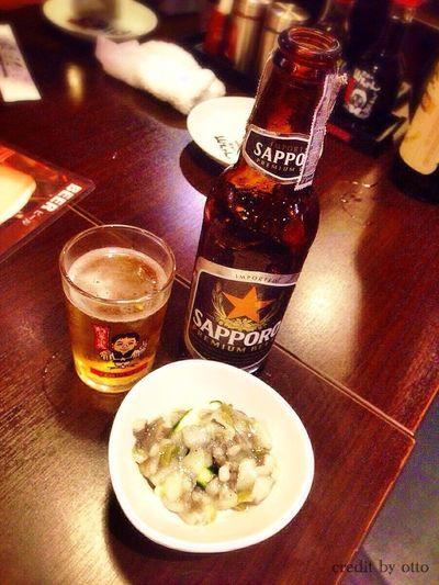 Chilling Beer Sapporo Beer Takowasabi Tako Wasabi Yummy Yamachan Sekai No Yamachan Bangkok Thailand