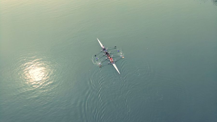 Outdoors Full Length Day Adult One Person People Water Nature Young Adult Lake River From Top Birds Eye View Rowing Rowing Boat Boat Training