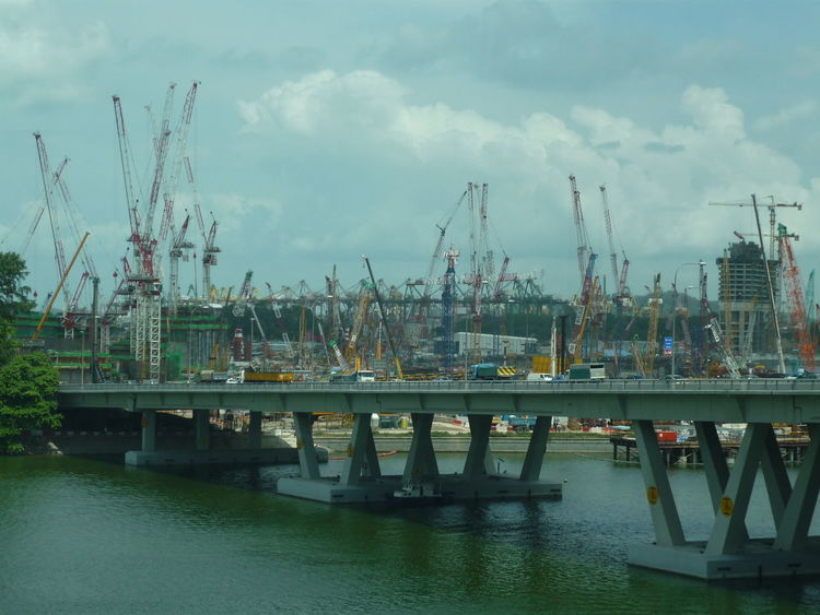 Architecture Boat Bridge - Man Made Structure Built Structure Cloud Cloud - Sky Commercial Dock Connection Crane Crane - Construction Machinery Development Engineering Freight Transportation Harbor Marina Bay Sand Constructions Mode Of Transport Moored Nautical Vessel River Ship Shipping  Sky Transportation Water Waterfront