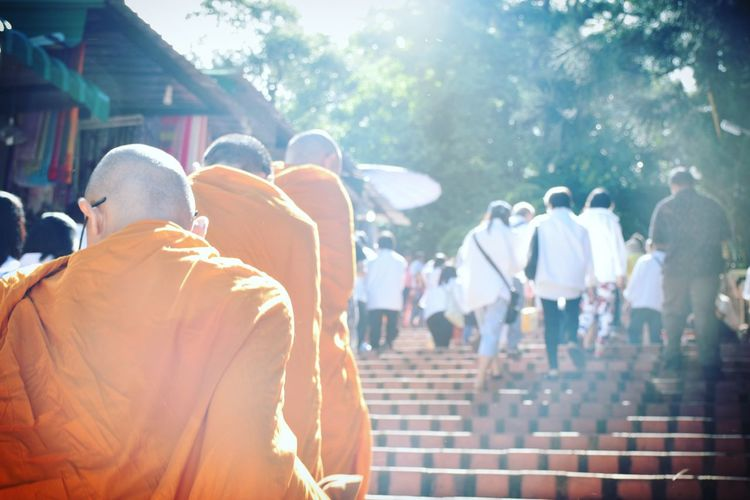 Rear View Of Monks And People On Steps At Temple