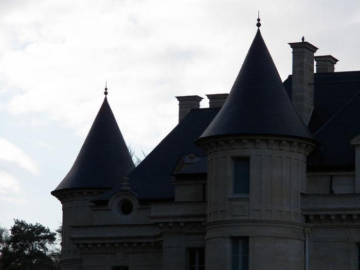 Castle left part against clouds Castle Architecture Against Clouds One Bird Left Aisle 2Towers Part Close-up Sky Building Exterior