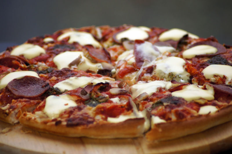 Close-up of pizza on plate