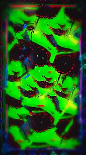 Masquerade - Acid Acidtrip Monster Occult Horror Neon Vivid Grunge Art Shadows & Lights Surrealism And Fantasy Art Graphic Design Acid Trip Art, Drawing, Creativity Creepy Surrealist Art Grunge GrungeStyle Modern Art Colorsplash Lips Masque MYArtwork❤ Darkart Trippy Art Green