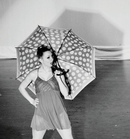 Umbrella Pokadots Dancer Black & White Surprise Girl Great Performance