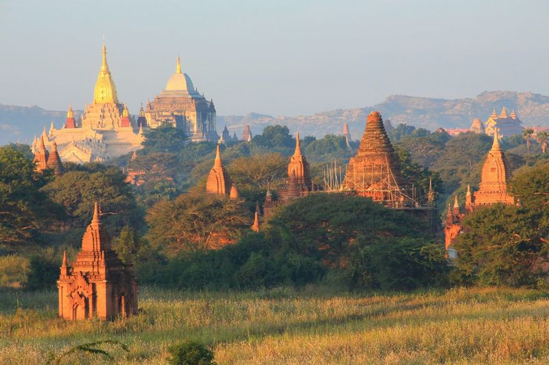 Scenic - Nature Panoramic Bagan Belief Believe Architecture Trees Country Countryside Nature Outdoors Rural Landscape Landmark Scene Scenics - Nature Myanmar Scenery Nature Photography Beauty In Nature ASIA Place Of Worship Ancient Sunset Pagoda Spirituality Architecture Sky Landscape Dawn Sunrise