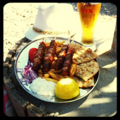 Greek souvlaki and beer