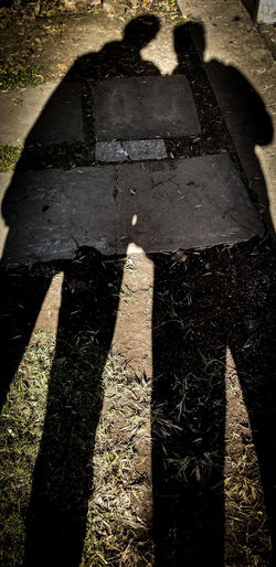 High angle view of shadow on stone wall
