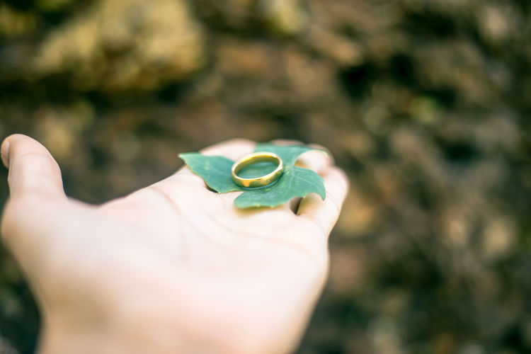 Close-Up Of Cropped Woman Hand Holding Ring With Leaf