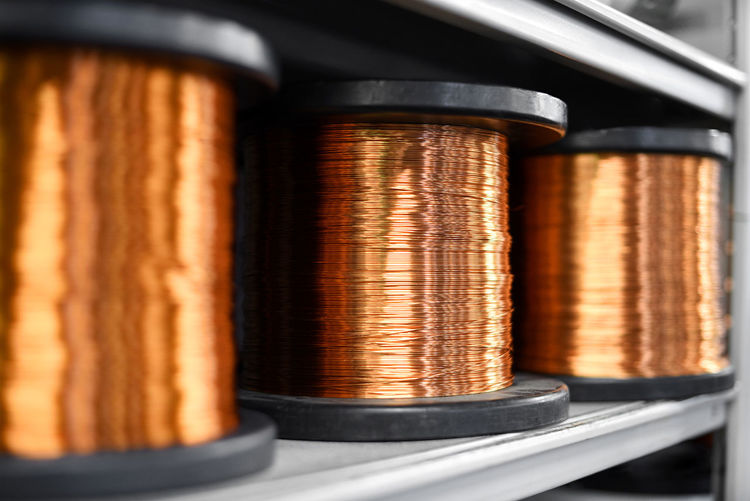 Close-up of copper wires on shelf