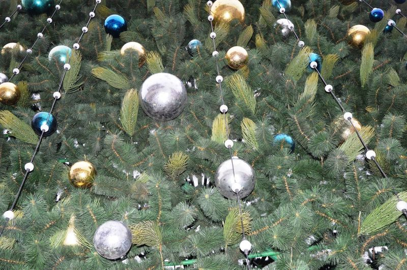 High angle view of christmas decorations on land