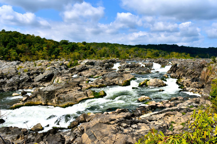 Great Falls National Park Great Falls Virginia Rushing Water Beauty In Nature Cloud - Sky Day Landscape Nature No People Outdoors Rock - Object Scenics Sky Tranquil Scene Tranquility Tree Water Waterfall Waterfalls