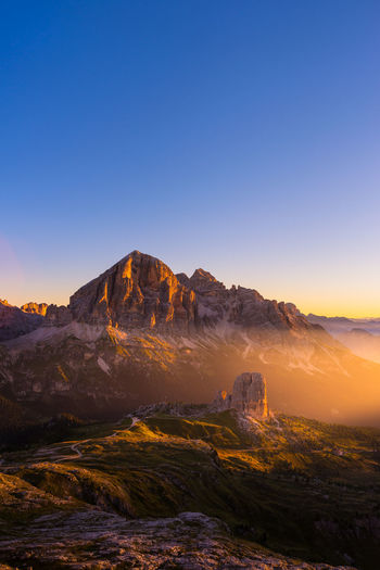 Cinque Torri, Dolomites Dolomites Sunlight Beauty In Nature Clear Sky Copy Space Environment Eroded Geology Idyllic Italy Landscape Mountain Mountain Peak Mountain Range Nature No People Outdoors Rock Rock - Object Scenics - Nature Sky Sunset Tranquil Scene Tranquility Travel Destinations