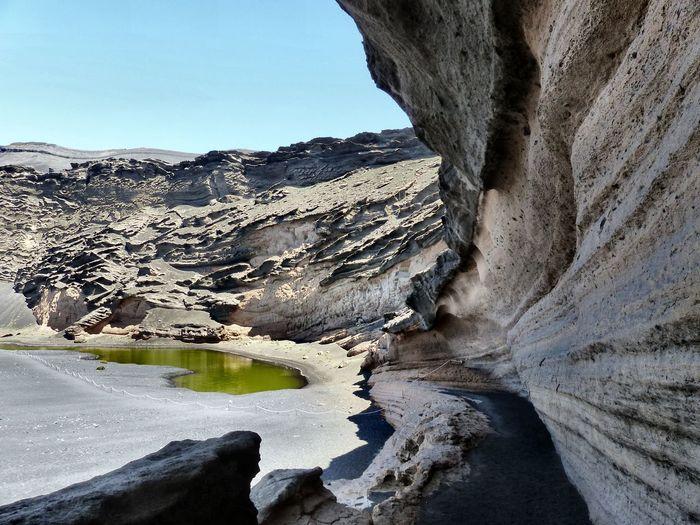 Rock formations at riverbank