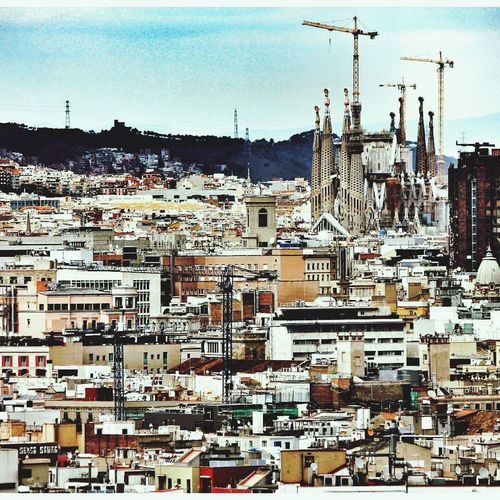 Barcelona Segrada Familia Cityscape City Building Exterior Travel Destinations Sky Architecture Outdoors Built Structure Business Finance And Industry Day No People Urban Skyline