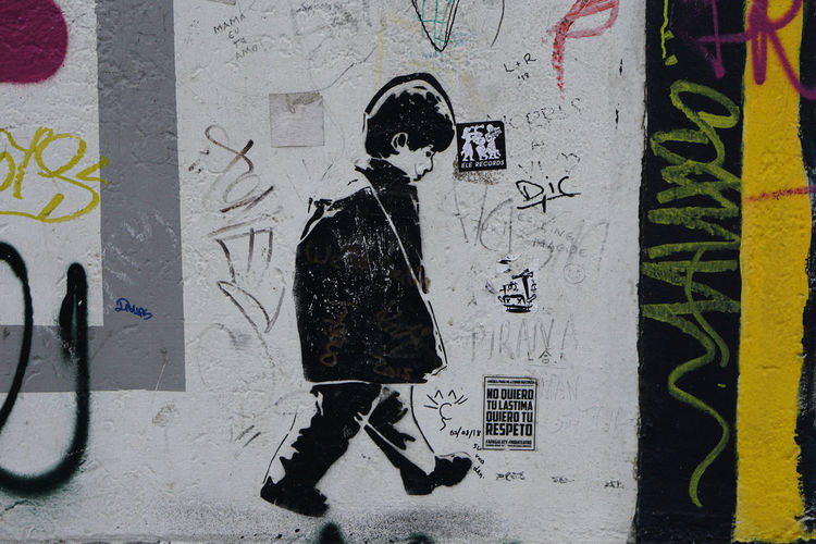 Berlin Wall Graffiti Wall - Building Feature Built Structure Communication Creativity No People Art And Craft Text Day Architecture Human Representation Representation Wall Outdoors Poster Male Likeness Yellow Close-up Mural Boy Berlin Street Art