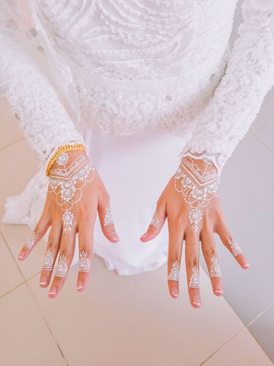 closeup bride hand with white paint Beauty Lace White Background Beauty Beautiful Human Hand Wedding Bride Women Adult Lifestyles People Indoors  Human Body Part Real People Clothing Fashion High Angle View Leisure Activity Human Leg Body Part White Color Celebration Low Section Event Human Limb