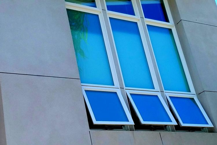 Architecture Blue Turquoise Windows Slanted Views Simple Lines Design Pattern Three Open Minimalism Reflection Tree Leaves Green Abstract