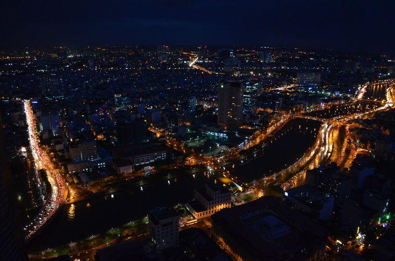 Saigon from above Saigon Ho Chi Minh City Bird's Eye View Night City Vietnam Bitexco Bitexco Tower