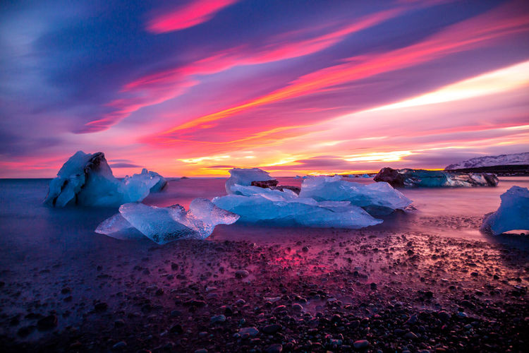 Icebergs At Beach Against Sky During Sunset