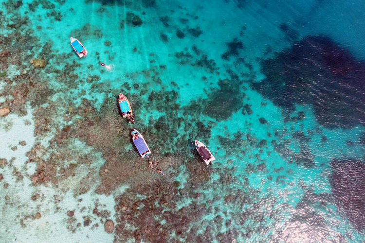 High angle view of boat on sea, selayar, south sulawesi, indonesia.