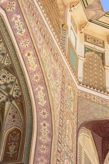 Low angle view of ornate ceiling in historic building