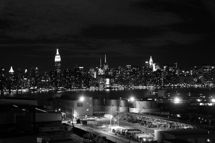 Big City Lights Big City Nights Black And White Skyline Car Parking Cityscape Development High Angle View Illuminated Illuminated Carpark Learn & Shoot: After Dark New York Skyline  Night Vision Outdoors Skyline Of New York Landscapes With WhiteWall Telling Stories Differently Cities At Night Monochrome Photography Welcome To Black Neighborhood Map