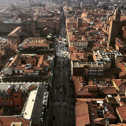 "The view of Bologna from ""Torre degli Asinelli"". Building Exterior Architecture Built Structure City Residential District Cityscape Building High Angle View No People Day Aerial View Roof Outdoors Sunlight City Life Community Bologna, Italy Tore Degli Asinelli Tower"
