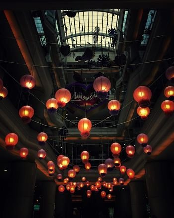 Lighted lanterns Illuminated Indoors  Decoration Low Angle View Ceiling Hanging Light In A Row Lantern Festival