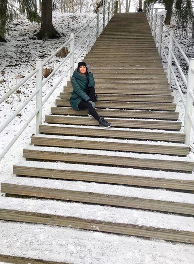 Full length of man on staircase
