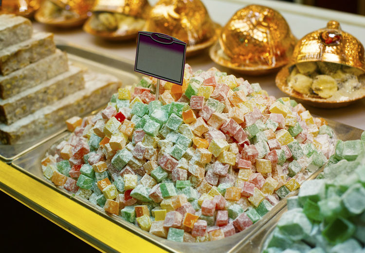 High angle view of colorful candies at store for sale