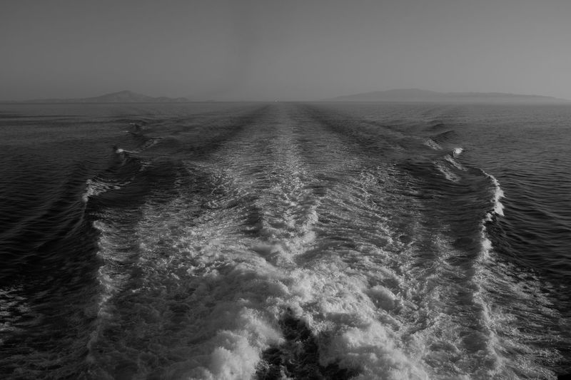 Wave Blackandwhite Boat Horizon Over Water No People Outdoors Sea Wash Water Wave Waves
