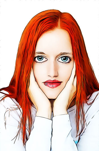 Beauty Portrait Young Adult Young Women Women Beautiful Woman Looking At Camera Front View Headshot Studio Shot Redhead Indoors  White Background One Person Adult Red Lifestyles Hairstyle Dyed Hair Dyed Red Hair Teenager Cartoon