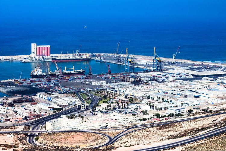 Marina Transportation Water High Angle View Architecture Sea Nautical Vessel No People Industry Nature Built Structure Business Blue Mode Of Transportation Building Exterior Day Freight Transportation Harbor Ship Outdoors Sailboat