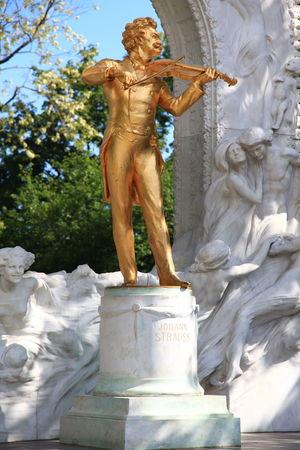 Johann Strauss Statue in Gold Gold Johann Strauss Music Park Pavillion Statue Vienna Violin Waltz Waltzer