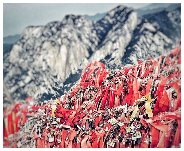 Chinese Tradition Close-up Culture Focus On Foreground Hicking Huashan Mountain Locks Love Mountain View No People Outdoors Red Red Cloth Selective Focus Travelling
