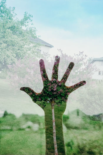 Best EyeEm Shot Double Exposure EyeEm Best Shots EyeEm Nature Lover The Week on EyeEm Architecture Building Exterior Built Structure Close-up Cross Day Field Grass Green Color Growth Nature No People Outdoors Plant Sky Tree