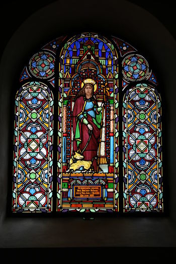 St. Severus in Boppard Stained Glass Spirituality Multi Colored Place Of Worship Religion Belief Art And Craft Glass Creativity Window Human Representation Glass - Material No People Ornate