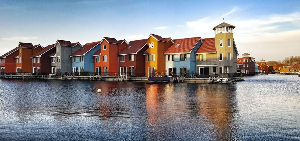 Reitdiep Reitdiephaven Colorful Groningen The Netherlands Water Reflection Sky Building Exterior Cloud - Sky Outdoors Water Day