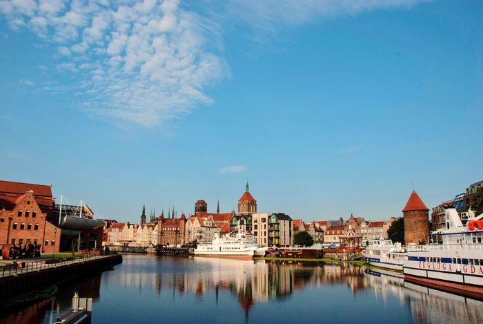 Motława Old Town Poland Polish Gdansk Danzig Water Architecture Sky Building Exterior Built Structure Nature City Reflection Waterfront River Nautical Vessel Cloud - Sky Travel Destinations No People
