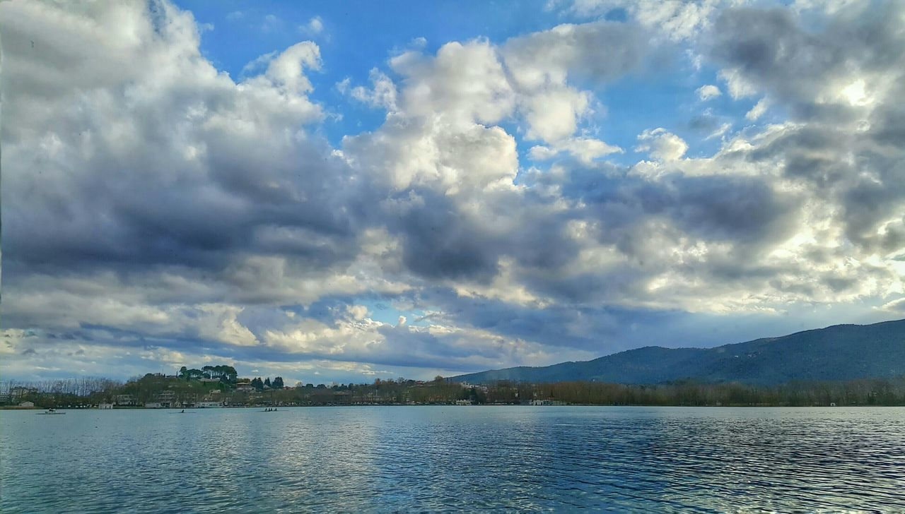 sky, cloud - sky, scenics, tranquility, nature, water, beauty in nature, tranquil scene, lake, no people, outdoors, idyllic, day, waterfront, tree, mountain, landscape