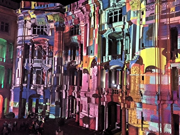 light projections on the facade of the Ansbach Residenz Ansbach, Bavaria Architecture Building Exterior City Cityscape Green Night Grüne Nacht Illuminated Facade Multi Colored Neon Night No People Outdoors Residential Palace Ansbach Sound And Light Show Ansbach Surreal Travel Destinations