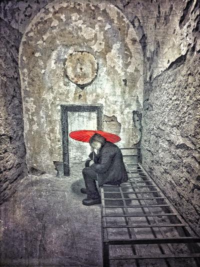 Red umbrella in