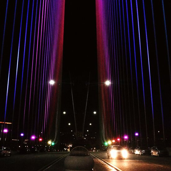 Midnight melody. The bridge color transition. Architecture Streetphotography Night View