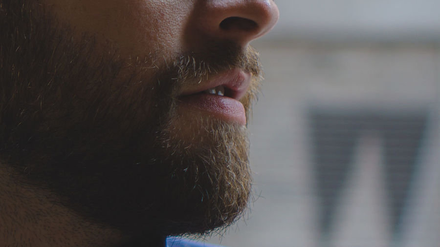 Cropped image of bearded man