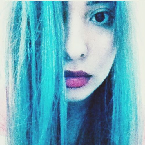 Redlipstick BlueHair Myself Onceuponatime Me Just Me Straight Hair Faces Of EyeEmm