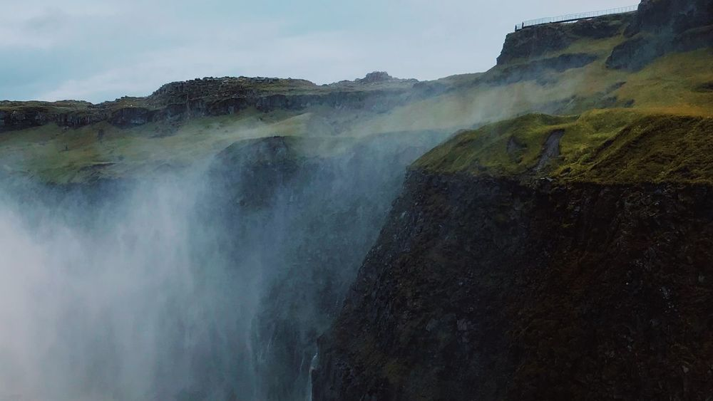 Scenics - Nature Beauty In Nature Water Non-urban Scene Rock Nature No People Sky Mountain Waterfall Day Motion Rock - Object Power In Nature Rock Formation Tranquil Scene Steam Solid Tranquility Outdoors Flowing Water Iceland
