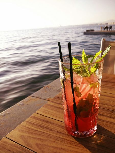 Cocktail Alcohol Mojito Time Mojito! 🍹 Horizon Over Water Gazing Out To Sea Just A Shot Sea View Relaxing Moments Waiting For Sunset Drink Sea Sommergefühle