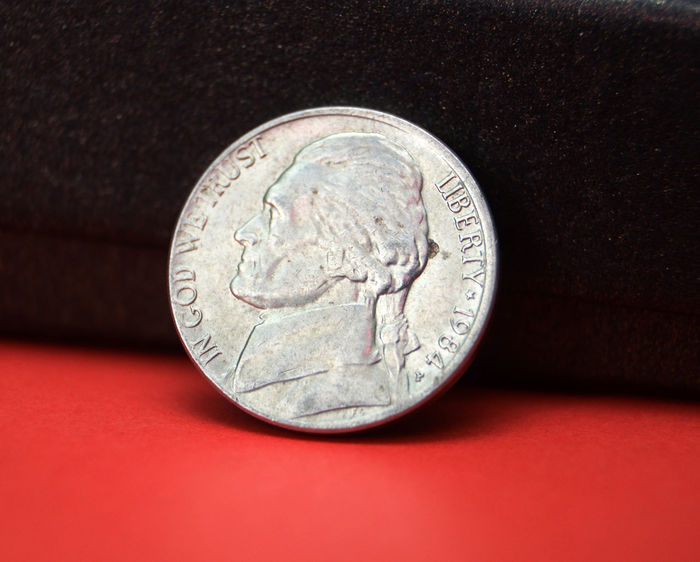 5 cents 1984 5 Cents Coin Red USA Close-up Coin Currency Dollar Finance Five Five Cents Money No People