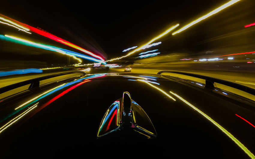 City Neon Illuminated Multi Colored Motion Road Speed Light Trail Long Exposure Car Capture Tomorrow 2018 In One Photograph Humanity Meets Technology Analogue Sound The Art Of Street Photography