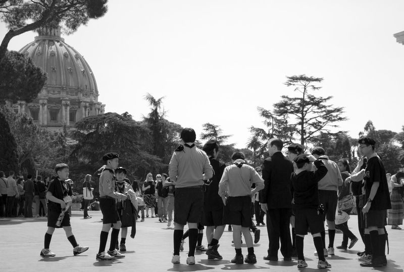 Scouts in the Vatican B&w Black And White Blackandwhite Boy Scouts Casual Clothing Church City City Life Crowd Day Dome Large Group Of People Leisure Activity Lifestyles Mixed Age Range Outdoors Person Place Of Worship Religion Scouts Sky Tourism Tourist Travel Destinations Tree